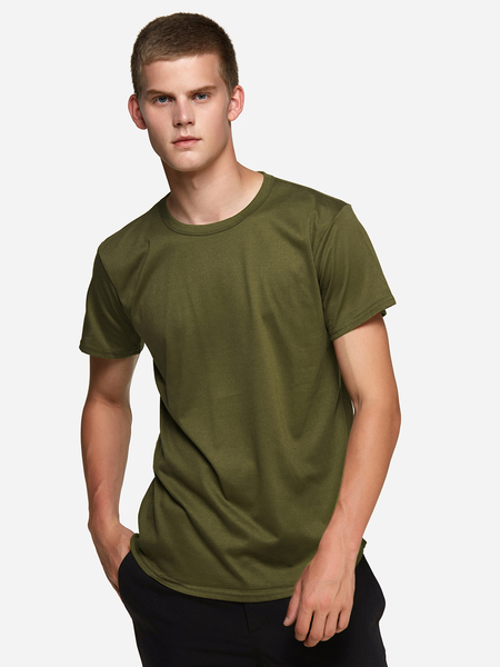 Yoins Army Green Street Style Pure Color Crew Neck Short Sleeve Curved Hem Men's Tee