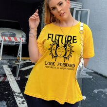 Plus Abstract Sun And Slogan Graphic Tee