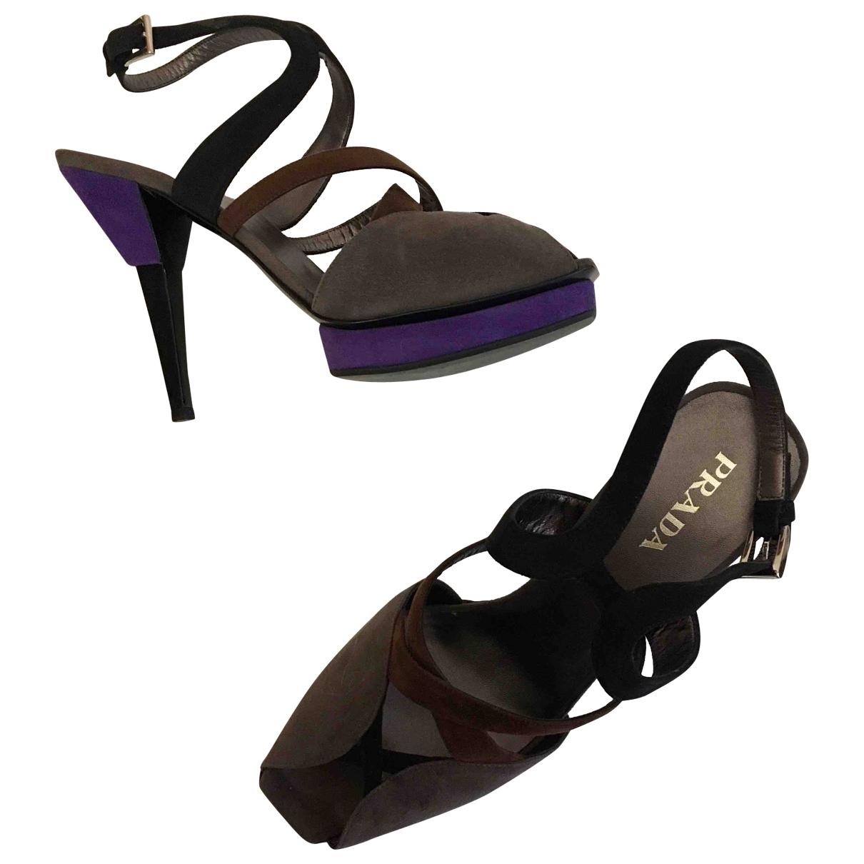 Prada - Sandales   pour femme en suede - multicolore