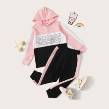 Toddler Girls Color-block Letter Graphic Hoodie & Sweatpants