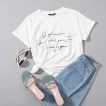 T-Shirt mit Manschetten und Buchstaben Grafik