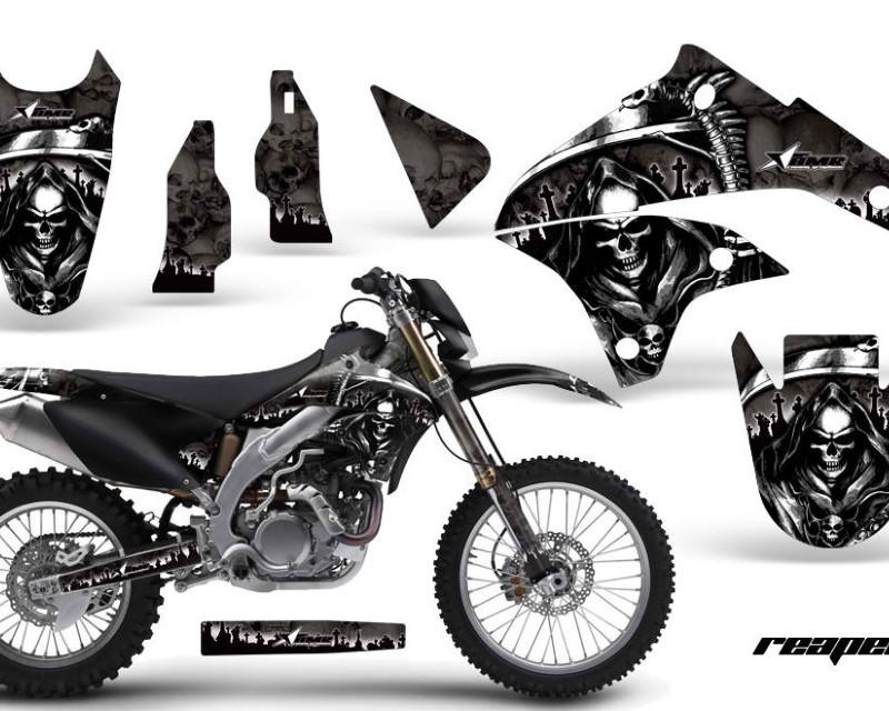 AMR Racing Dirt Bike Graphics Kit Decal Sticker Wrap For Kawasaki KLX450 2008-2012?REAPER BLACK