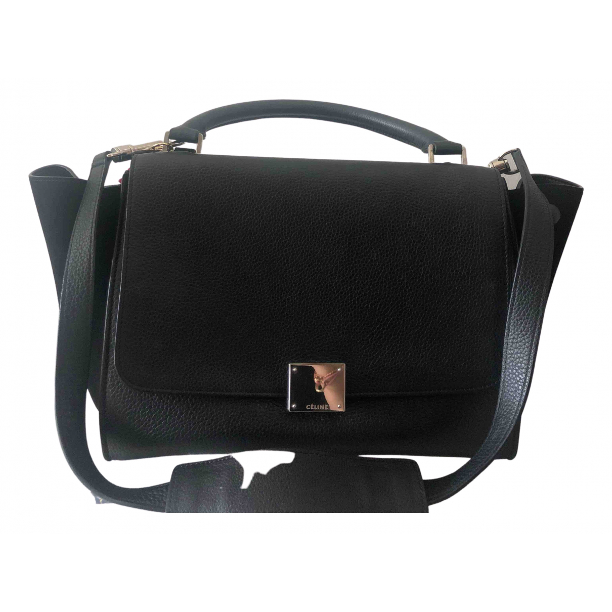 Celine Trapèze Black Leather handbag for Women N