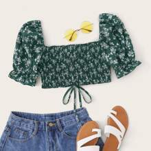 Knotted Hem Shirred Ditsy Floral Crop Top