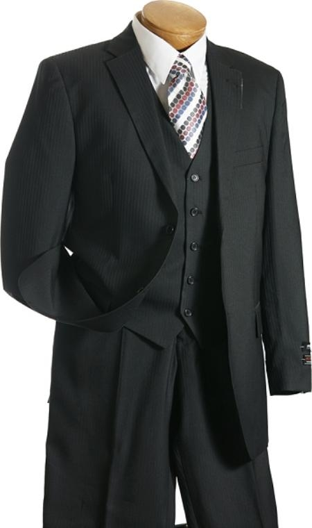 3 Pc Vested Black Pin Stripe Designer affordable suit online sale