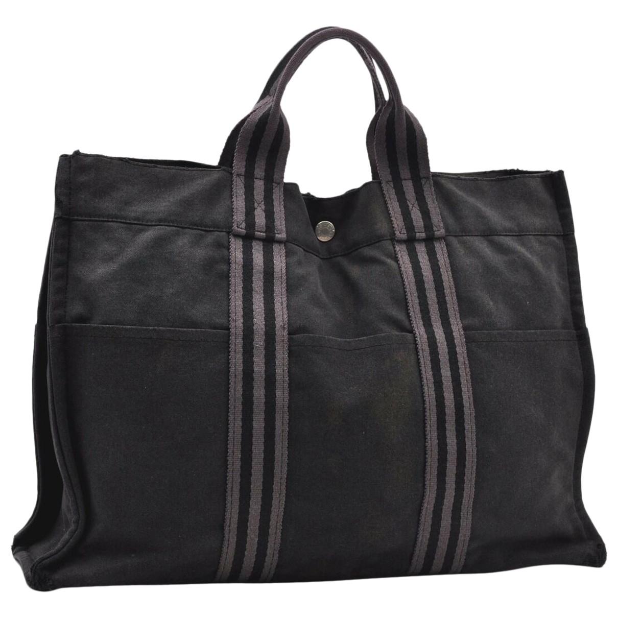 Hermes Herline Handtasche in  Schwarz Leinen