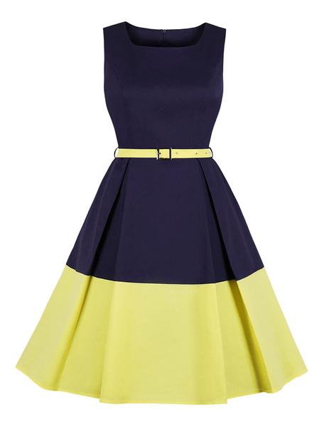 Milanoo Vintage Party Dress With Pockets 1950s Balck Polka Dot Two Tone Sleeveless rockabilly Midi Retro Dress