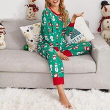 Christmas Print Slant Pocket Pajama Set