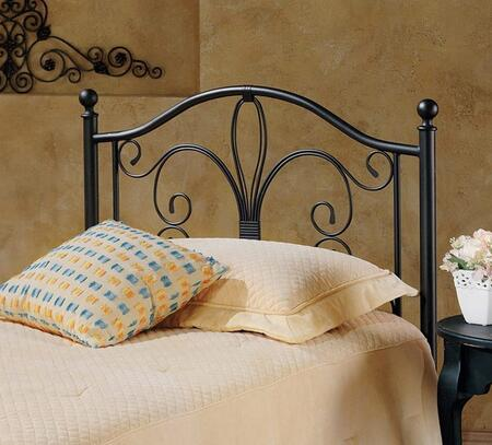 Milwaukee Collection 1014HTWR Twin Size Headboard with Rails  Round Finials  Decorative Metal Scrolling and Open-Frame Panel Design in Antique