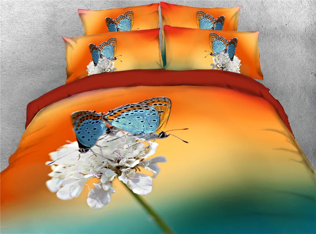 Butterflies On The Flower Four-Piece Set Duvet Cover Set Machine Wash Polyester Bedding Sets