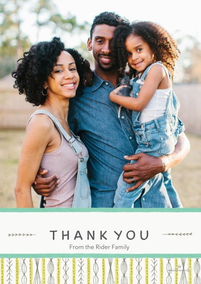 Kids Thank You Cards 5x7 Cards, Premium Cardstock 120lb with Scalloped Corners, Card & Stationery -Delicate Modern Print Thank You - Aqua