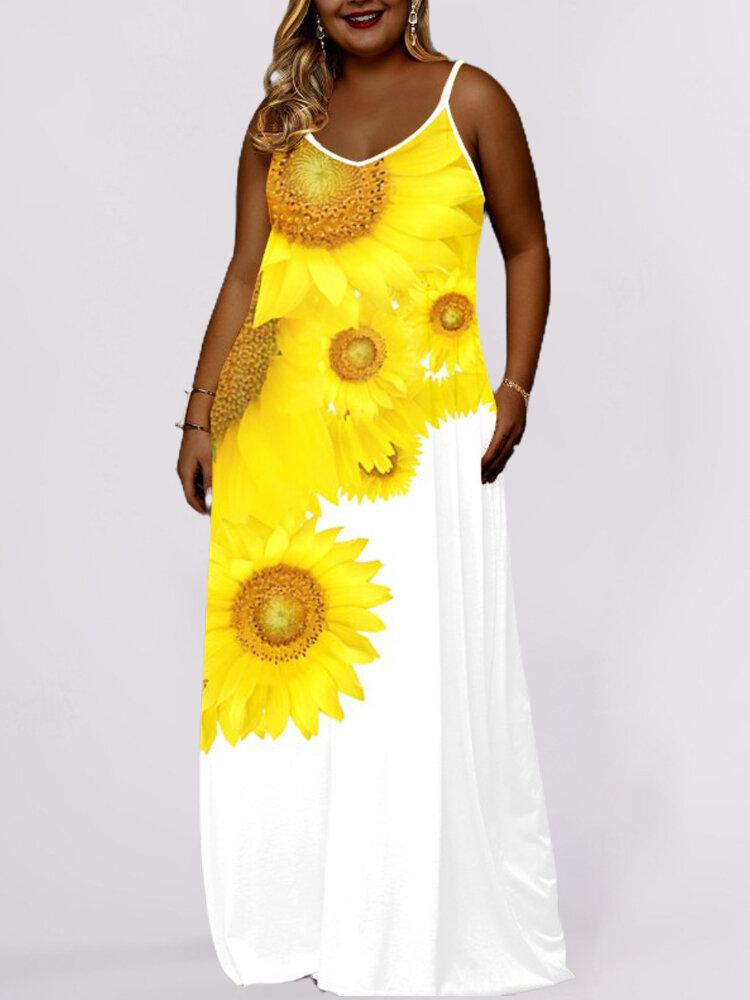 Sunflower Print Spaghetti Straps Plus Size Maxi Dress