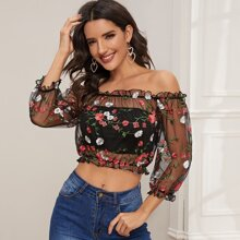 Frill Trim Sheer Embroidery Mesh Top Without Tube