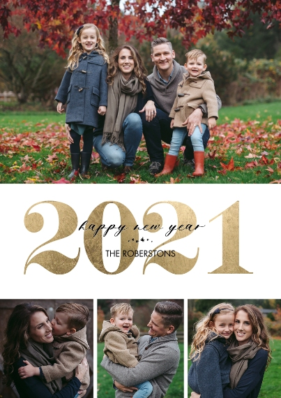 New Year's Photo Cards 5x7 Cards, Premium Cardstock 120lb with Scalloped Corners, Card & Stationery -2021 New Year Gold Overlay by Tumbalina