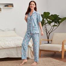 Sets Pijama Bolsillo Floral Casual