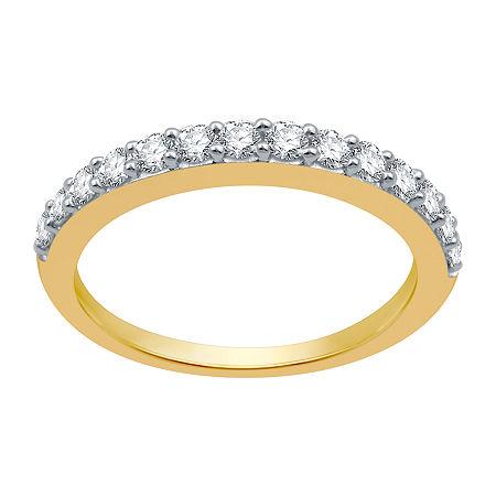 2MM 1/2 CT. T.W. Genuine White Diamond 10K Gold Wedding Band, 8 , No Color Family
