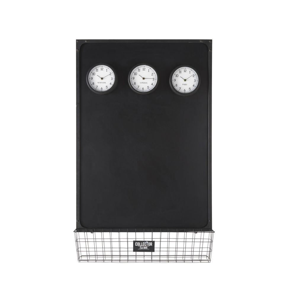 Schiefertafel mit 3 mobilen Magnetuhren 75x121