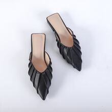Point Toe Ruched Decor Mules
