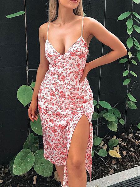 Milanoo Moda para el verano correas de cuello Impreso delantero partido vestido sin espalda Rosa Beach