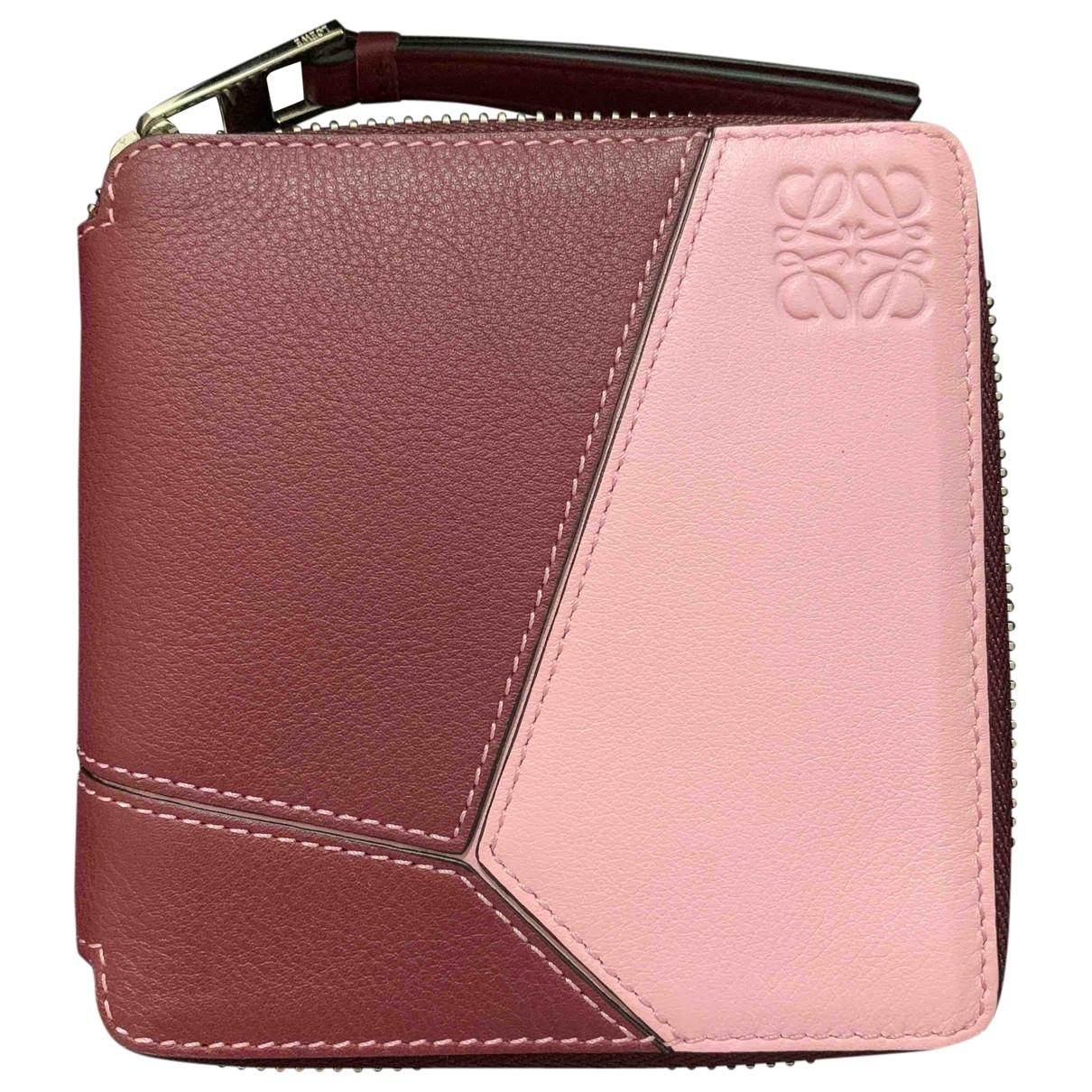 Loewe Puzzle Burgundy Leather wallet for Women \N