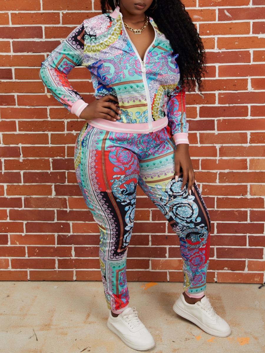 LW lovely Sportswear Print Zipper Design Multicolor Two Piece Pants Set