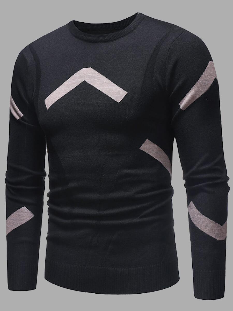 LW Lovely Casual O Neck Print Black Men Sweater