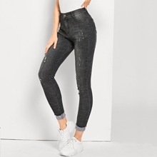 Faded Wash High Stretch Ripped Jeans
