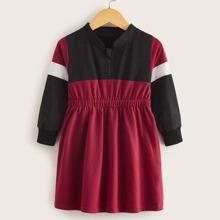 Kleinkind Maedchen Sweatshirt Kleid mit Kontrast Einsatz und Viertel Reissverschluss