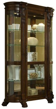 102003 Curio with Beveled Glass Door  Mirrored Back  Decorative Carvings and Halogen Lighting in Foxcroft