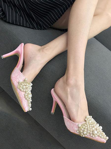 Milanoo Las mujeres mulas tacones altos punta estrecha perlas sin respaldo resbalon en los zapatos