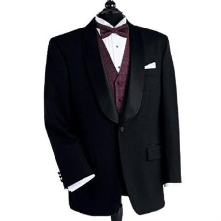 Black Dinner Jacket 1 Poly 1 Button Shawl Collar