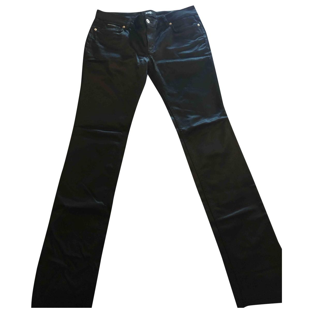 D&g \N Black Cotton Trousers for Women 46 IT