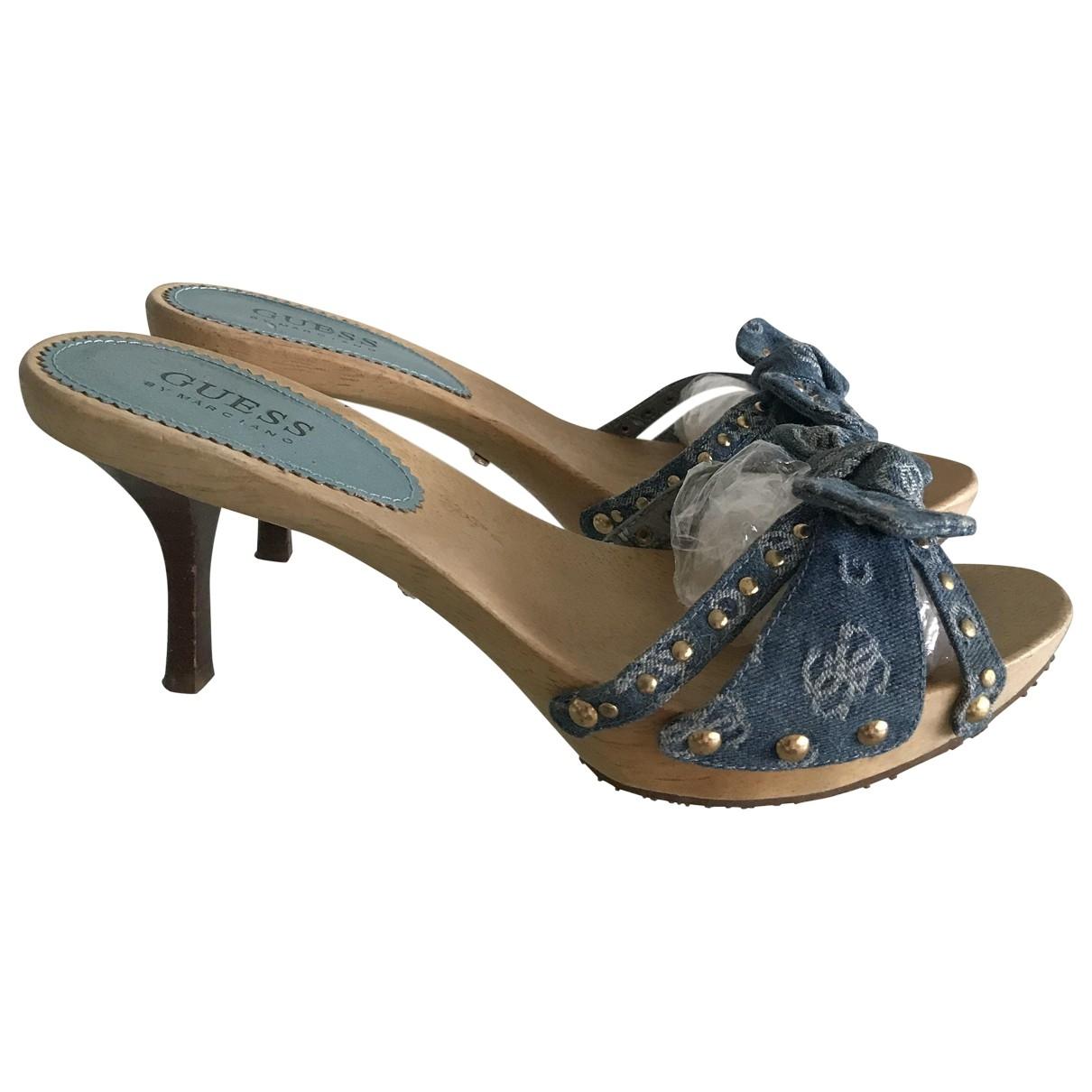 Guess - Sandales   pour femme en toile - bleu