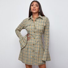 Button Front Bell Sleeve Plaid Dress