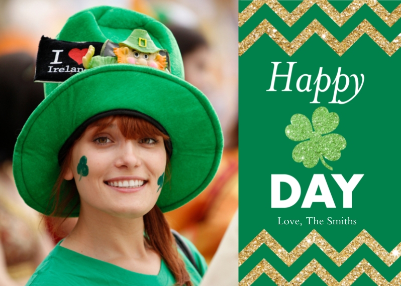 St. Patricks Day Cards Flat Glossy Photo Paper Cards with Envelopes, 5x7, Card & Stationery -St. Patricks Day Chevron by Posh Paper