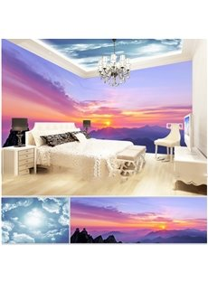 Blue Sky and Sunset On the Mountain Pattern 3D Waterproof Ceiling and Wall Murals