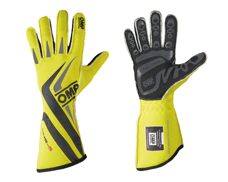 OMP Racing IB/755E/GF/S Fluorescent Yellow, Black and Gray One-S Racing Gloves | S