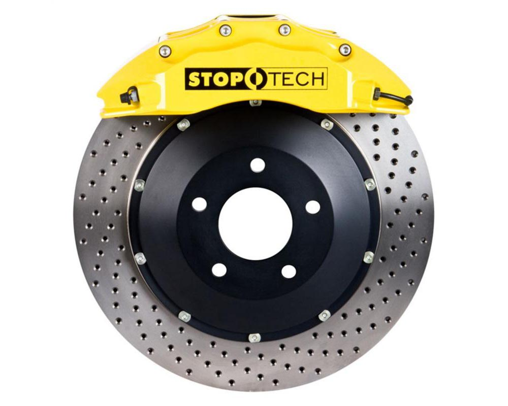 StopTech 83.160.6D00.82 Big Brake Kit Black Caliper Slotted Two-Piece Rotor Rear BMW M3 Front 2008-2009