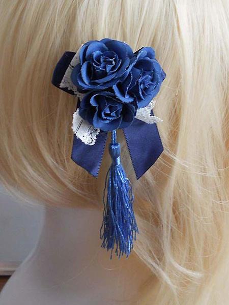 Milanoo Qi Lolita Headband Blue Flower Bows Two-Tone Sweet Headgear With Fringe