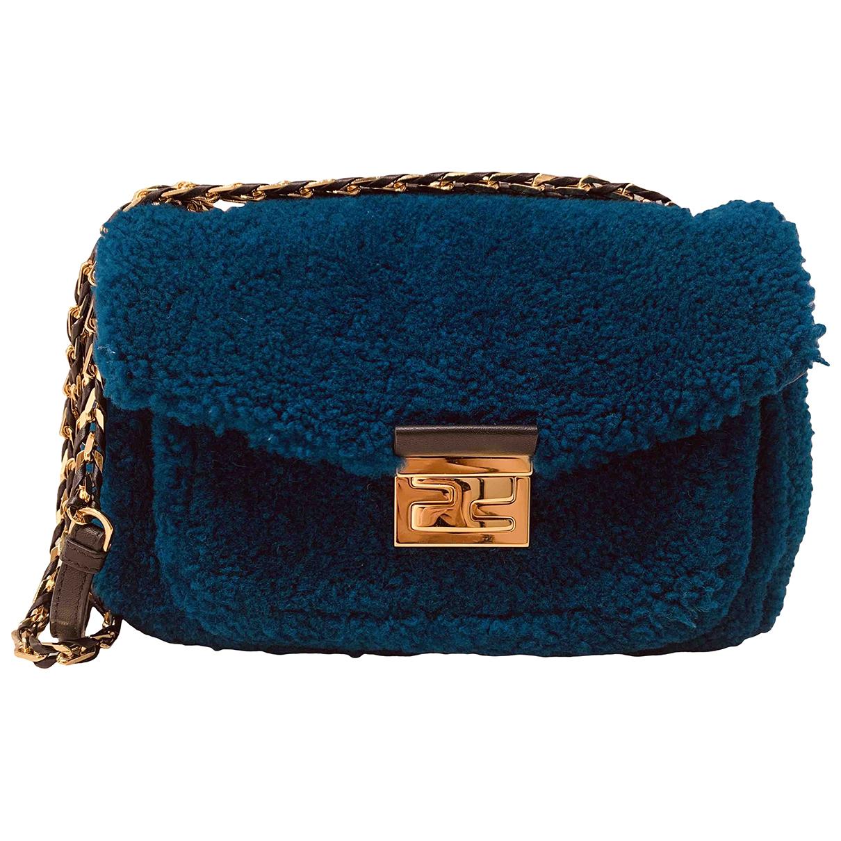 Fendi - Sac a main Bebaguette pour femme en laine - bleu