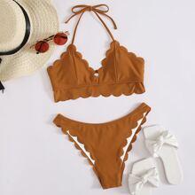 Bikini Badeanzug mit Bogenkante und Neckholder