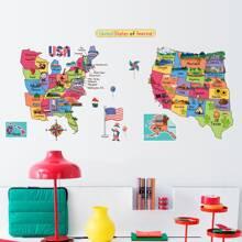 Kids Map Print Wall Sticker