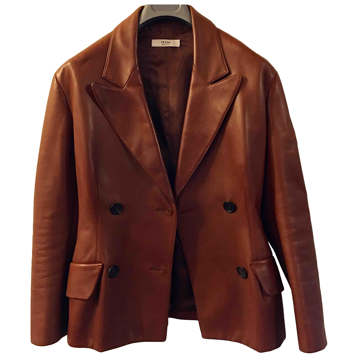 Prada \N Brown Leather Leather jacket for Women 44 IT