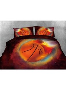 Basketball with Fire and Galaxy Printing Cotton 3D 4-Piece Bedding Sets/Duvet Covers