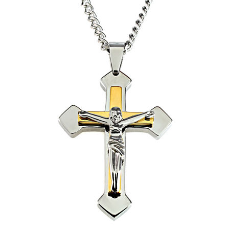 Mens Two-Tone Stainless Steel Crucifix Pendant Necklace, One Size , No Color Family