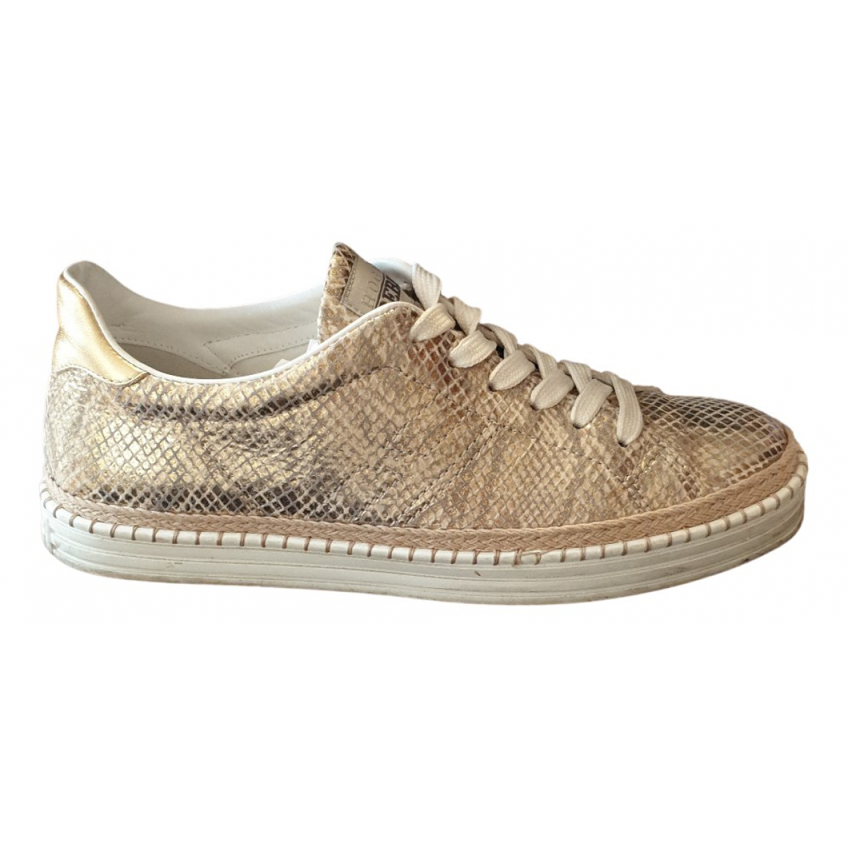 Hogan N Gold Leather Trainers for Women 38 EU