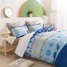 Set de cama de niños con estampado de ancla sin relleno