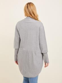 Plus Leg-of-mutton Sleeve Heather Gray Cardigan