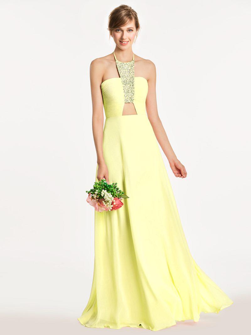 Ericdress Halter Hollow Beaded Long Bridesmaid Dress