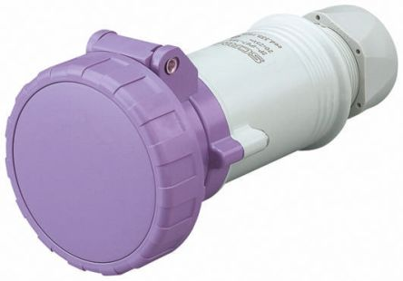 RS PRO IP66, IP67 Purple Cable Mount 2P Industrial Power Socket, Rated At 16.0A, 20 → 25 V